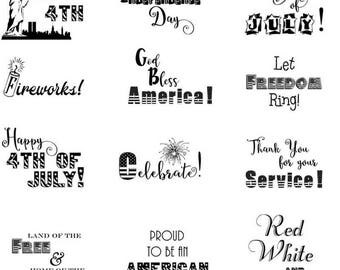 4th of July Word Overlays