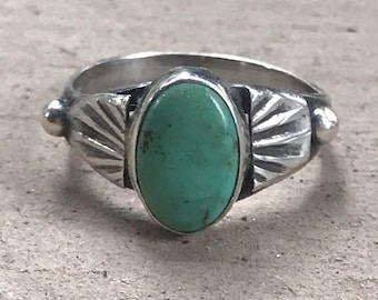 Vintage Turquoise Ring, Native American Jewelry, Navajo Jewelry, Sterling Silver Ring, Size 5 1/2, Green Turquoise, SweetVintageTX