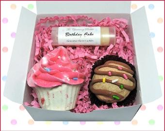 Spa Gift Set, Lip Balm, Cupcake Bath Bomb, Truffle Bath Melt, Birthday Cake, Bath Bomb Gift Set, Bath Bomb, Bath Gift Set, Spa Set, Spa Gift