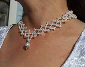 Tatting Jewelry Summer Necklace White Romantic Prom Wedding Bridal Air Jewelry Women Gift For Her For Fiancee For Girlfriend Gift For Mom