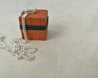 Wooden cube - cube necklace - reclaimed wood - wooden necklace - handmade jewelry - vintage upcycled - retro necklace - solid silver