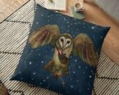 Healers Of Light, Barn Owl Pillow, Barn Owl Cushion, Whimsical, Magical, Fantasy, Owl and Cat, Spirit Animal, Totem Animal, Celtic, Pagan