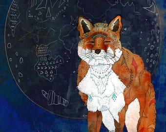 LUNAR KITSUNE 8x11 Fine Art Print // Fox Illustration, Fox Print, Fox Art, Totem Animal, Spirit Animal, Forest Animals, Whimsical Fox Art