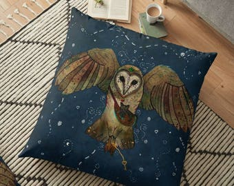 Healers Of Light - Barn Owl Pillow- Barn Owl Cushion- Whimsical- Magical- Fantasy- Owl and Cat, Spirit Animal, Totem Animal, Celtic, Pagan