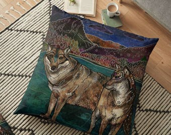 Wolf Love - Pillow- Wolf Pillow- Wolves Pillow- Animal Pillow- Whimsical Art- Illustration, Nature Lover, Wolf Couple, Wildlife Pillow