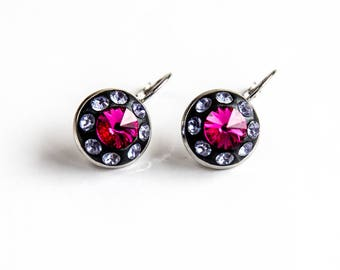 Pink drop and dangle earrings, Hot pink earrings, Fuchsia Swarovski earrings, Pink violet crystal earrings, Pink black Swarovski earrings