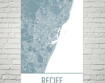 Recife Map, Recife Art, Recife Print, Recife Brazil Poster, Brazilian Gifts, Map of Brazil, Brazil Poster, Brazil Beaches, Brazilian Art