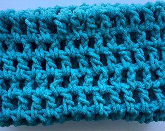 big oversized blue scarf