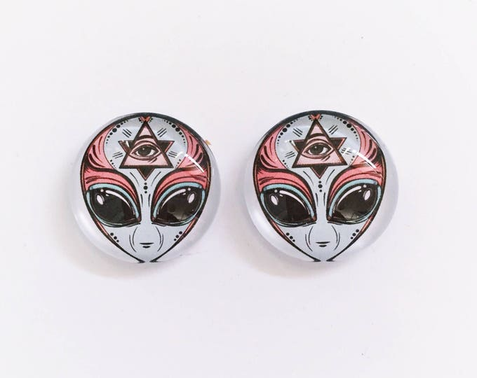 The 'Alien' Glass Earring Studs