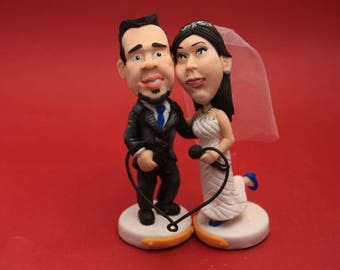 Cute Wedding Cake Topper. Wedding keepsake. The bride and groom.  Cake topper.Cake decoration. Party Supplies.