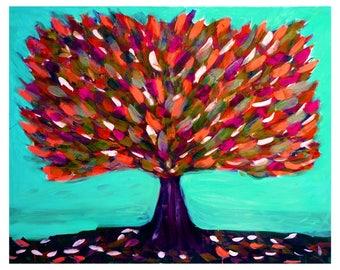 tree print, tree artwork, wall art trees, red trees, nature prints, whimsical art prints, tree of life wall art, tree painting uk