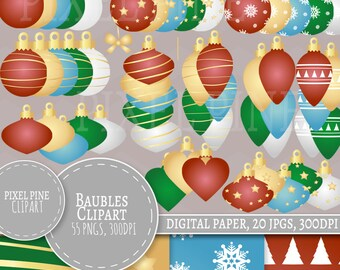 Bauble Clipart, Christmas Baubles 55 PNGs, 20 Christmas bauble digital paper JPGs, Commercial Use, Gold baubles Clipart, Shiny xmas baubles
