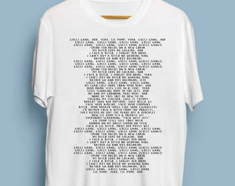 Gucci Gang - Lil Pump Entire Lyrics Printed On A T Shirt  Funny Meme White T Shirt