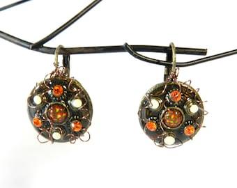 "Earrings ""Angara"" sleeper frame handmade"