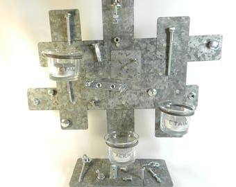 """Workshop"" metal candle holder, handmade"