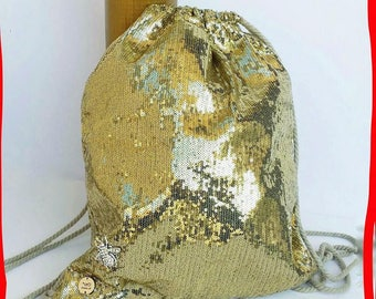 Backpack. Paillette backpack. Gold backpack. Yellow gold sequins. Handmade backpack. Unique handbag. Special handbag. Sequins backpack.