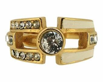 Christian Dior 1970s Enamel and Rhinestone Vintage Ring