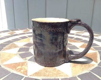 Unique one of a kind stoneware pottery mug, brown and gray, signed & dated by artist