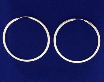 Large White Gold Hoop Earrings