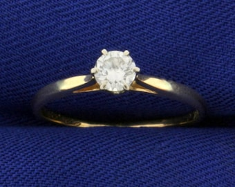 Solitaire Diamond Engagement Ring in 14K Yellow Gold .3ct