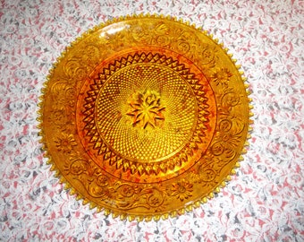 Amber Tiara Glass Serving Plate and Divided Platter Set Indiana Glass