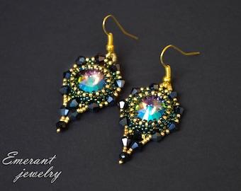Swarovski earrings Rivoli earrings Bridesmaid Bohemian earring Dainty Bar earrings seed bead earring Chandelier cute birthday gift for her