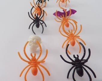 24 HALLOWEEN Cupcake Toppers ~ Spider, Bat, Skull Party Favors ~ Craft Supply
