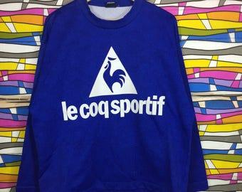 Rare!! Le Coq Sportif Sweatshirt Big Logo Fullover
