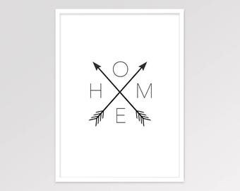 Home Arrow Print, Affiche Scandinave, Arrow Home Sign Decor, Home Arrows, Black and White Printable Art, Minimalist Artwork, Wall Poster