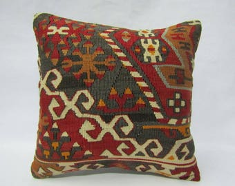 Turkish Kilim Pillow Cover,16x16 inches,40x40cm,Anatolian Turkish Kilim Pillow Cover