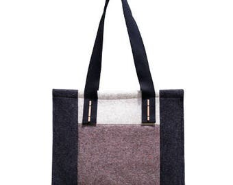 """SALE - """"Patch"""" - Felt tote bag made of 100% merino wool. Handbag, 30 Percent discount only on this color."""