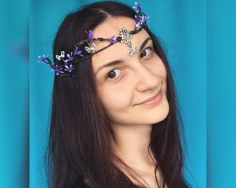 Woodland elf tiara elven jewelry fairy crown butterfly tiara elven circlet wedding elf diadem elfish accessory medieval circlet butterfly
