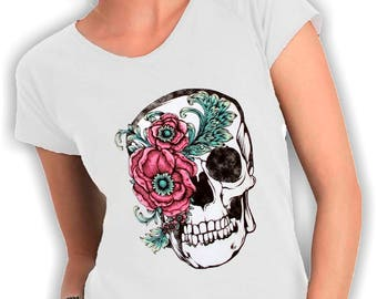 Flower skull t shirt V neck
