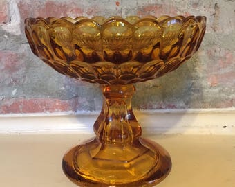 Amber Thumbprint Glass Compote Bowl // Amber Pedestal Bowl // Amber Fruit Bowl // 1960's