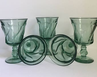 5 Vintage Jamestown Green Swirl Fostoria Depression Glass// Green Swirl Mixed Glass Set // Set of 5 // 1960's-1970's