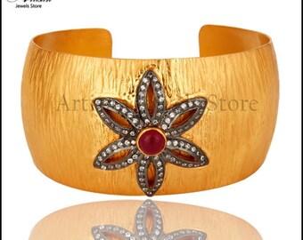 Gemstone Fashion Brass Cuff Bracelet, 22k Gold Plated