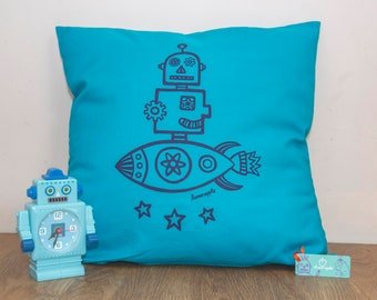 Robot Cushion - Hand Screen Printed, Robot Screen Print, Robot Print, Rocket Cushion, Rocket Print, Kids's Room, Kid's Present, FREE P&P!