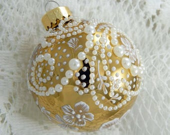 Mud Ornament. Painted Ornament. Glass Ornament. Hand Painted Ornament. Pearl Embellishments. Shiny Ornament.