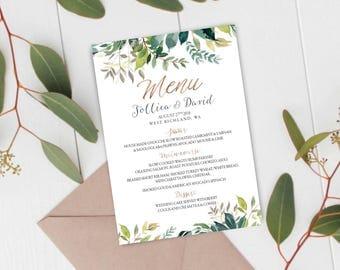Greenery Wedding Menu, Wedding Menu, Printable Wedding Menu, Menu Card, Wedding Menu Cards, Wedding Menu Printable, Wedding Menu Template