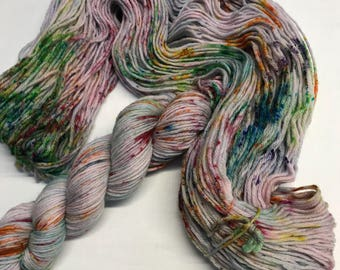 """100g 100% Superwash Merino Double Knit Yarn, hand dyed, grey / lilac, multi speckles, """"more is more"""""""