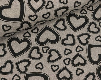 Sweatshirt fabric Bielefeld heart Grey Heather (18.50 EUR / meter)
