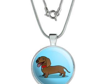 "Dachshund Wiener Dog Cartoon 1"" Pendant with Sterling Silver Plated Chain"