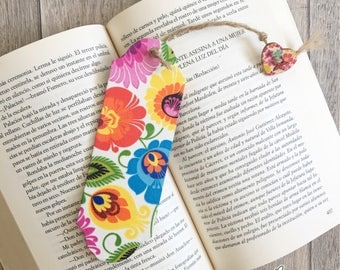 Personalised folklore bookmark, floral design, decoupaged wooden bookmark, teacher's gift, polish folklore, folklore theme gift, quirky gift
