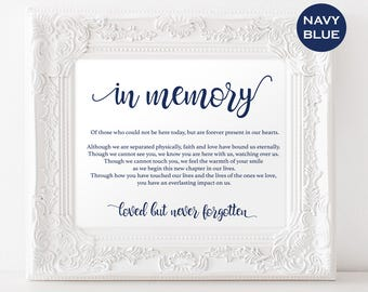 In Memory Sign - In Loving Memory Sign - Loved ones sign - Navy Wedding Sign - Wedding Printable - Downloadable wedding #WDH812325
