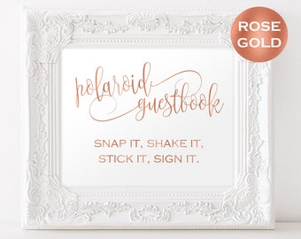 Polaroid Wedding Guestbook Sign Template - Photo Guestbook Sign - Wedding guest book - Rose Gold Wedding - Downloadable wedding #WDH878PL83