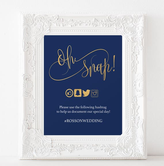 Navy Blue and Gold Wedding Sign