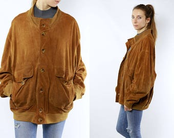 Suede Bomber Jacket / Suede Leather Jacket / Brown Suede Jacket / Brown Bomber Jacket / 80s Bomber Jacket / 80s Suede Jacket / Suede Jacket
