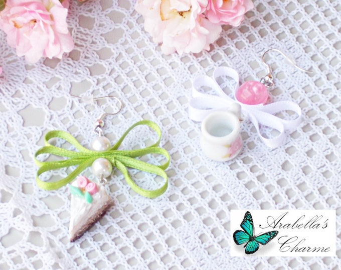 Earrings with charms slice of cake made in polymer clay and tea cup ceramic