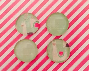 Llama magnets, llama, glass magnets, magnet set, refrigerator magnets, inexpensive gift, kitchen decor, locker decor, office decor