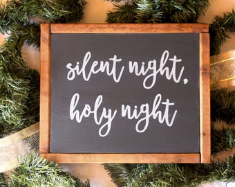 "BUNDLE - Silent Night, Holy Night - Two Rustic Wood Signs - 9.5"" x 11.5"""